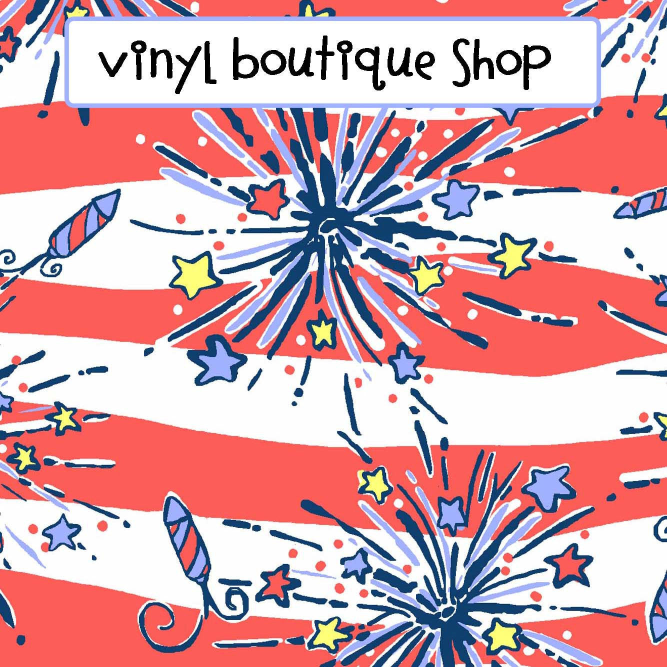Firecracker Patriotic Lilly Inspired Printed Patterned Craft Vinyl - Vinyl Boutique Shop