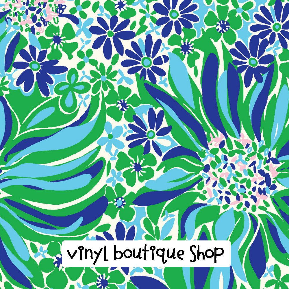 Blue Green Floral Lilly Inspired Vinyl - Vinyl Boutique Shop