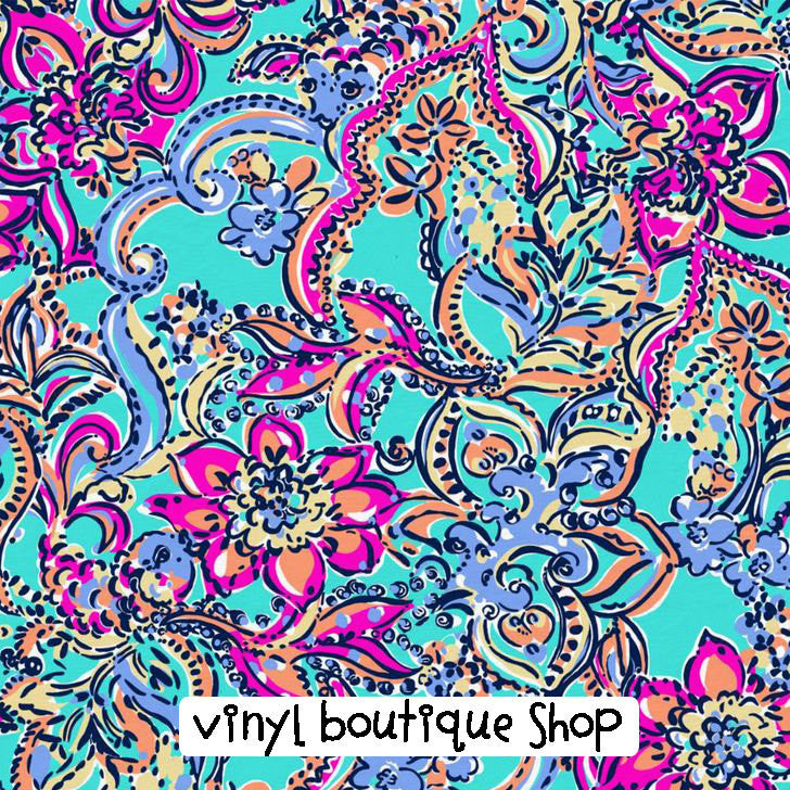Aqua Bait And Switch Lilly Inspired Printed Patterned Craft Vinyl - Vinyl Boutique Shop