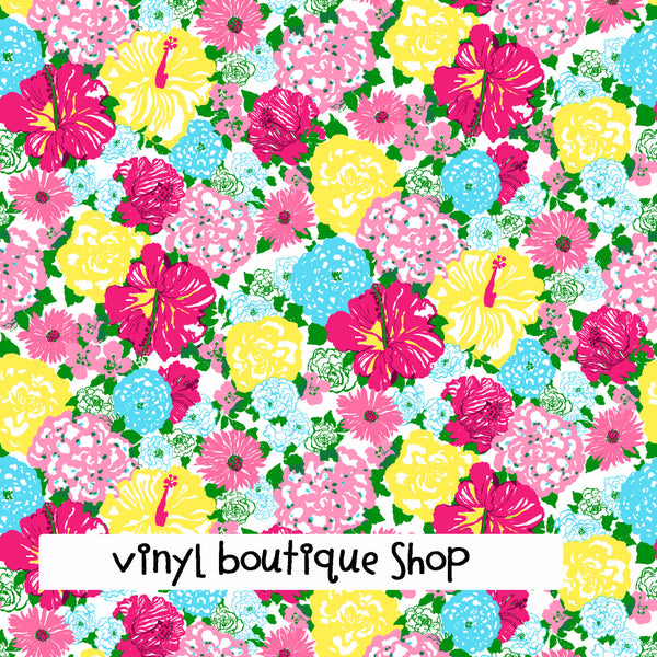 Heritage Floral Lilly Inspired Printed Patterned Craft Vinyl - Vinyl Boutique Shop