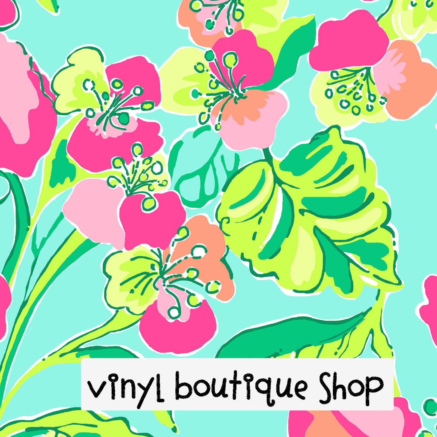 Island Cocktail Lilly Inspired Printed Patterned Craft Vinyl - Vinyl Boutique Shop