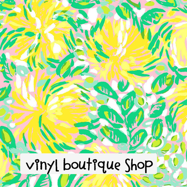 Lilet Yellow Lilly Inspired Printed Patterned Craft Vinyl - Vinyl Boutique Shop