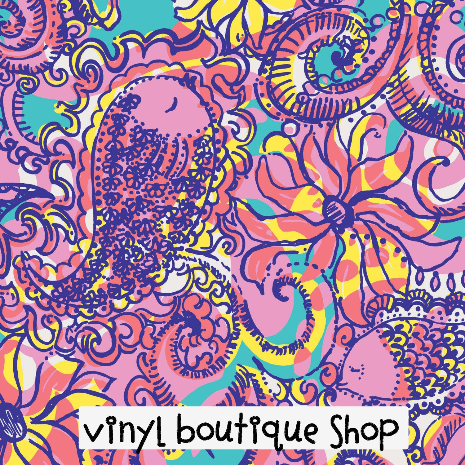 Sea And Be Seen Lilly Inspired Printed Patterned Craft Vinyl - Vinyl Boutique Shop