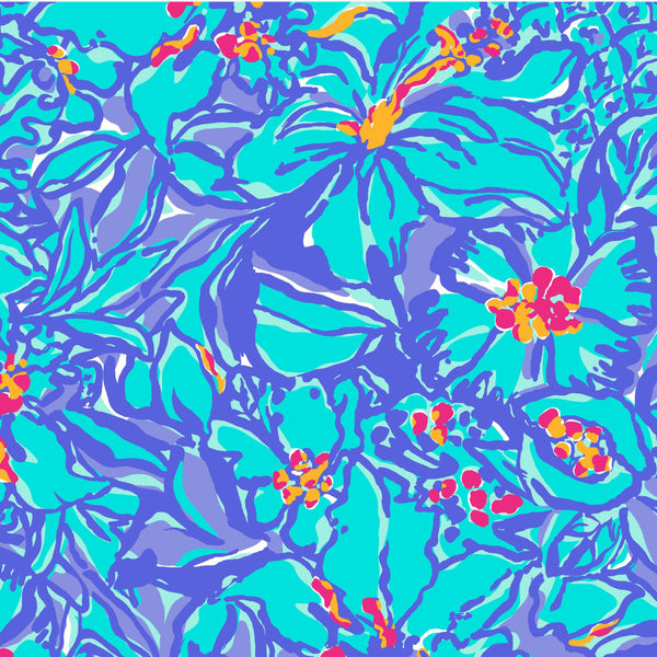 Mai Tai Purple Blue Floral Lilly Inspired Printed Patterned Craft Vinyl - Vinyl Boutique Shop