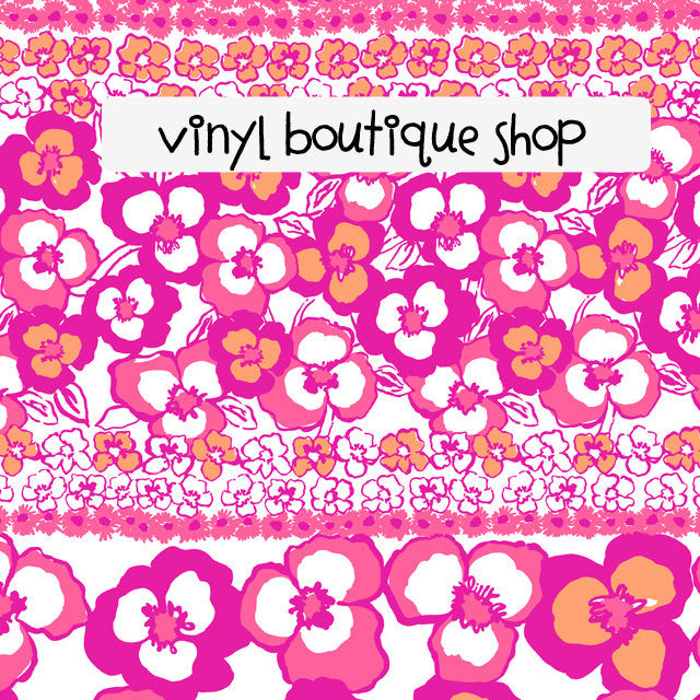 Pansy Pink Floral Orange Lilly Inspired Printed Patterned Craft Vinyl - Vinyl Boutique Shop
