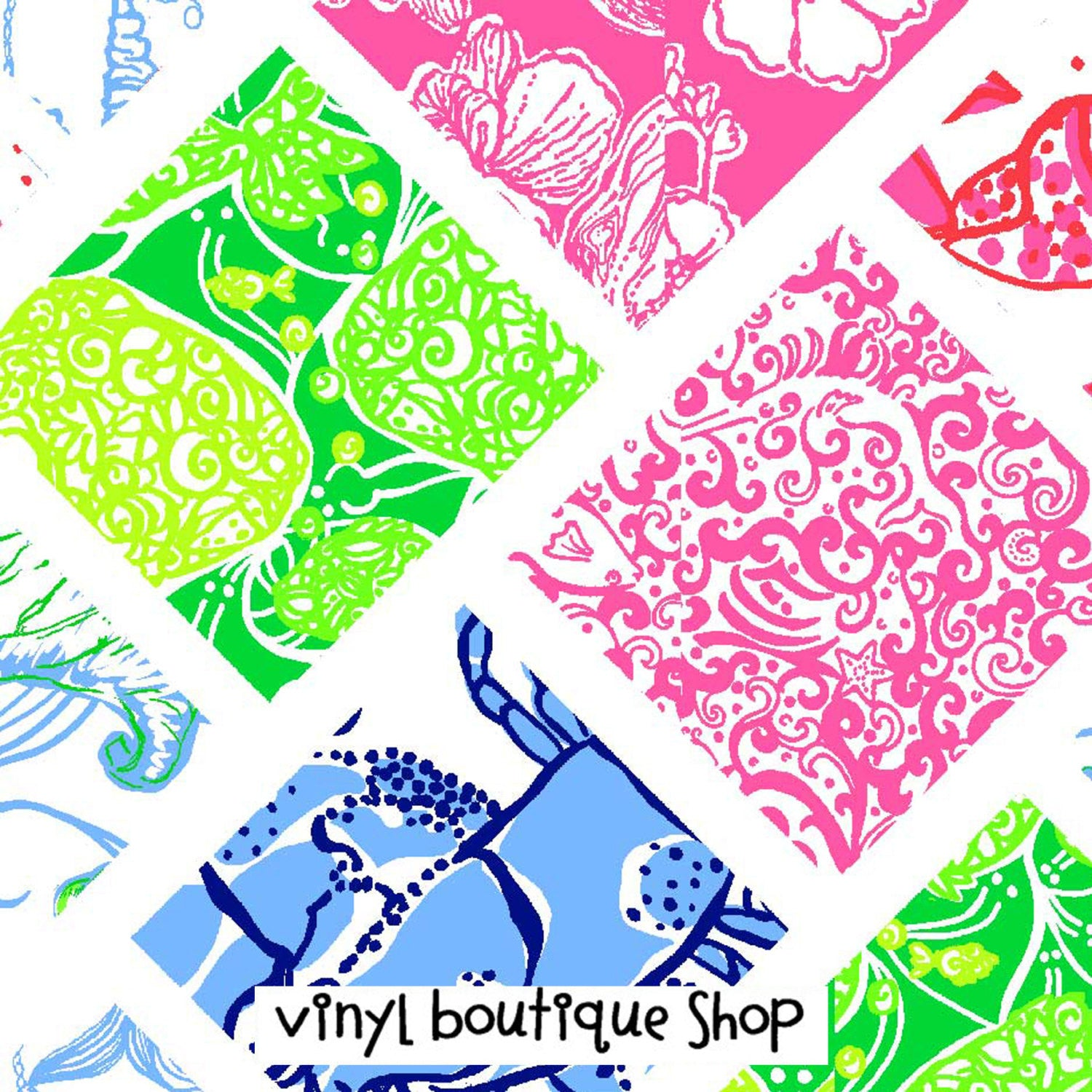 Patchwork Piece Lilly Inspired Printed Patterned Craft Vinyl - Vinyl Boutique Shop