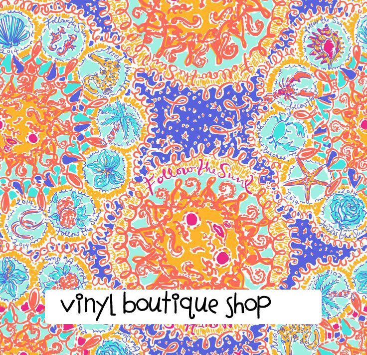 Follow The Sun  Lilly Inspired Printed Patterned Craft Vinyl - Vinyl Boutique Shop