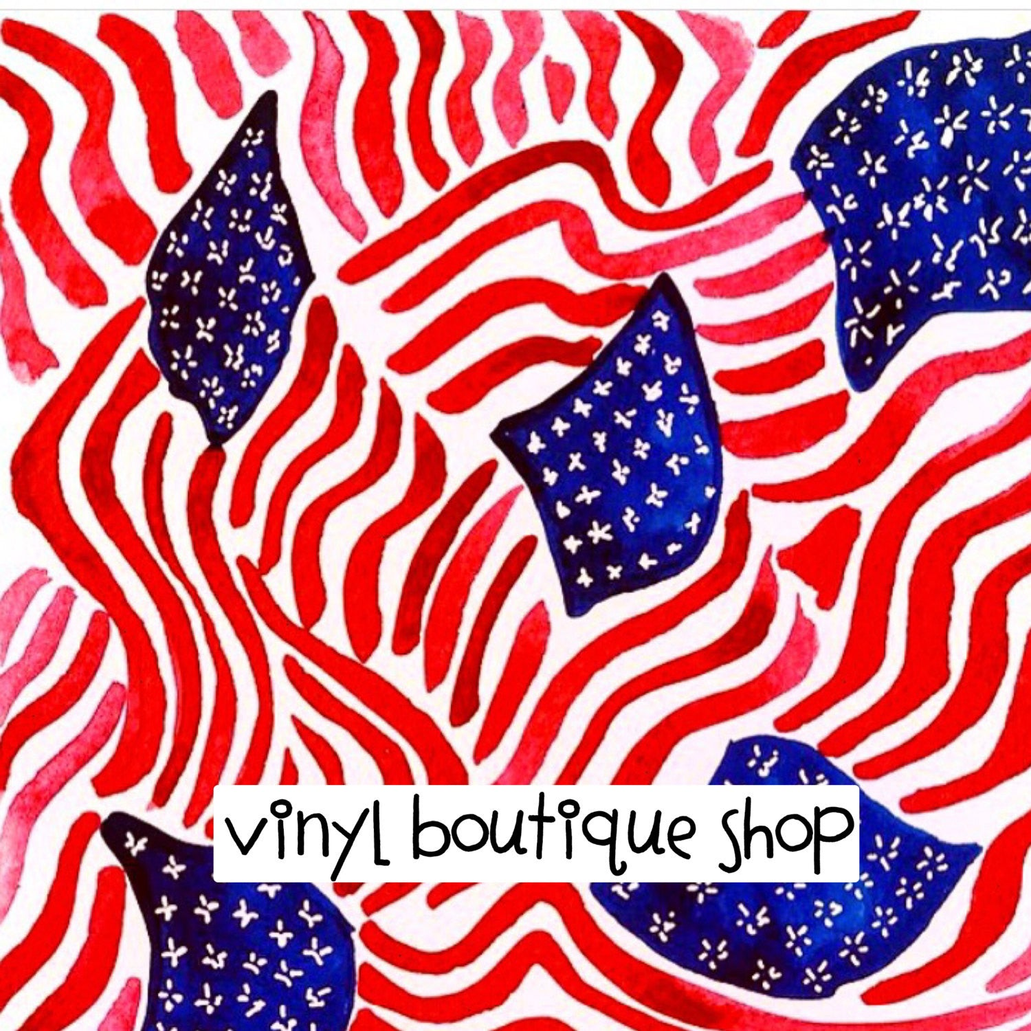 4Th Of July Watercolor Lilly Inspired Printed Patterned Craft Vinyl - Vinyl Boutique Shop