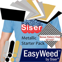"SISER EasyWeed Heat Transfer Vinyl Sheet, 12 x 15"" 11-Color Starter BUNDLE, Metallic Black and Whites with Bonus Pattern Vinyl Sheet - Vinyl Boutique Shop"