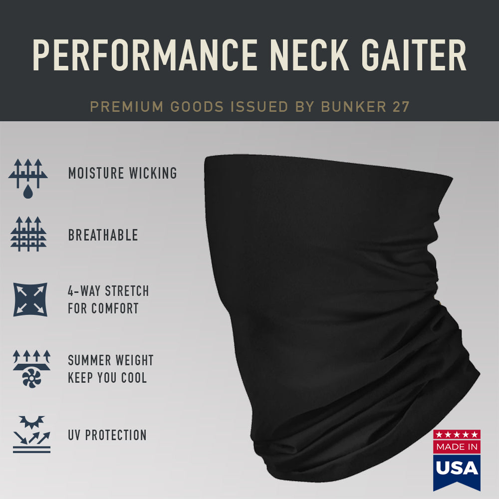 Black Summer Weight Neck Gaiter - Made in USA, Bunker 27