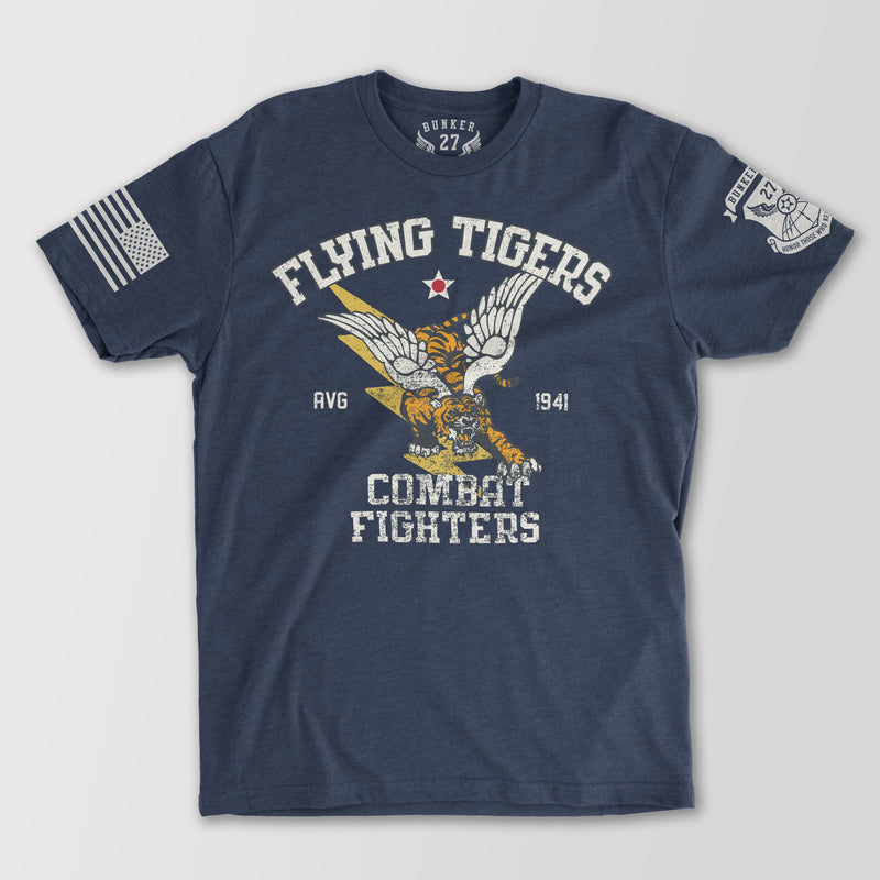 Bunker 27 Flying Tigers T-Shirt, World War II, Military Aviation T-Shirts