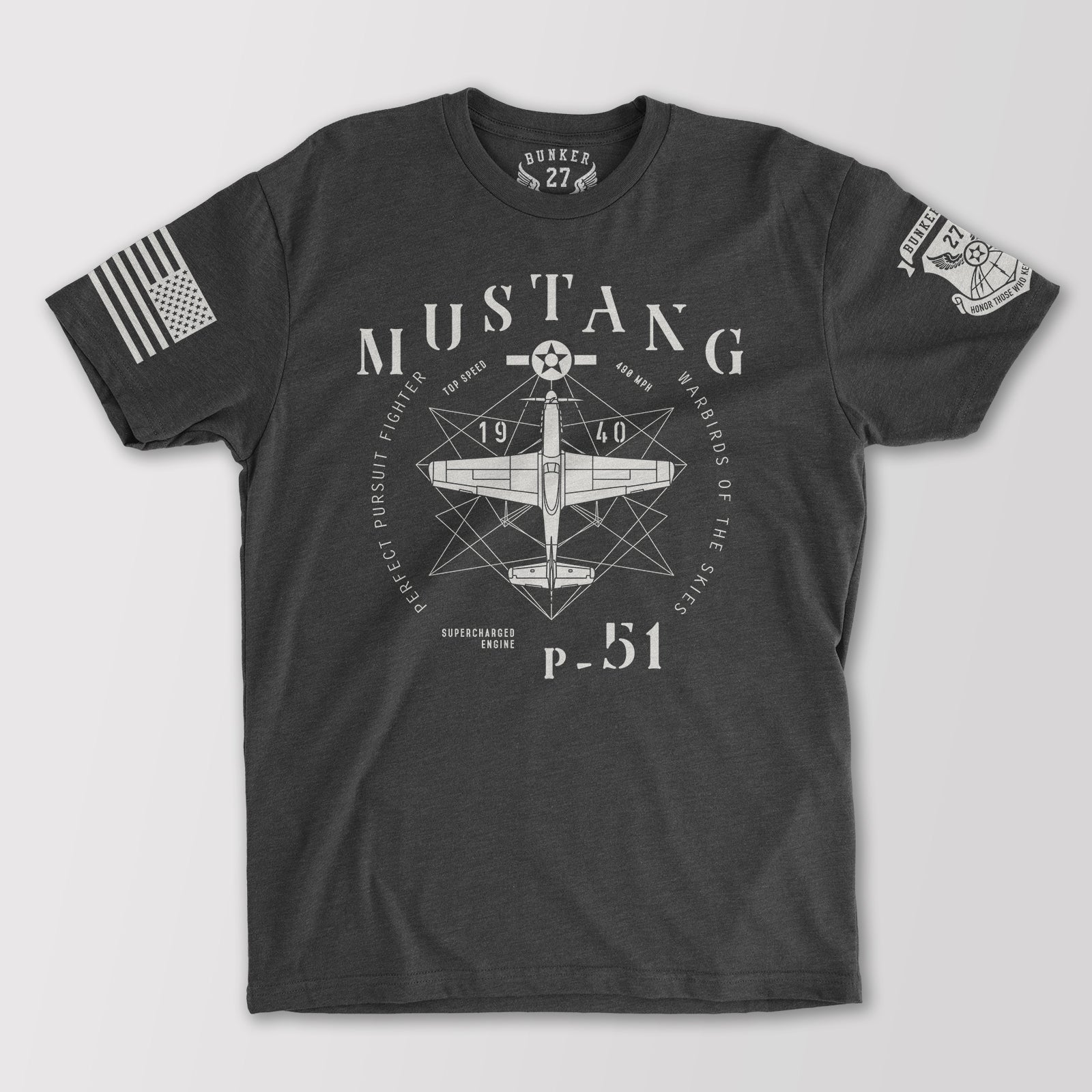 P-51 Mustang T-Shirt Aviation T-Shirts Military Bunker 27