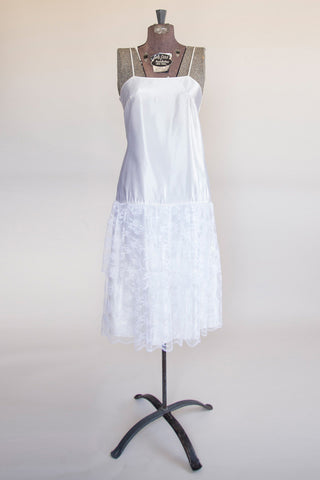 50's Shimmy Dress - Vintage Women's White Slip Dress