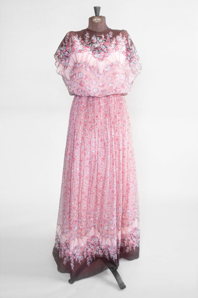 Vintage Women's Pink Ditsy Print Gown