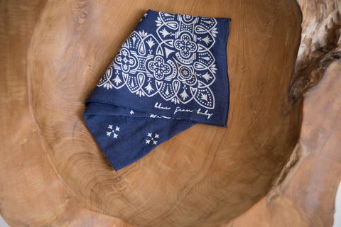 Banded Blue / Fast Color - Elephant Brand Bandana - Vintage Accessories