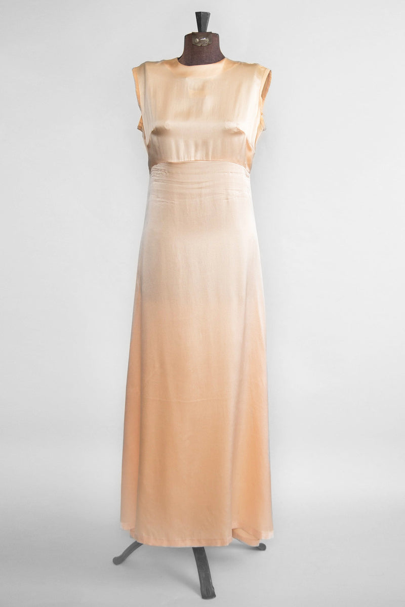 Vintage Women's Peach Dress - Peach Minimalist Dress