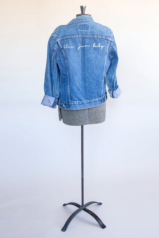 'Blue Jean Baby' Wordplay Denim Jacket