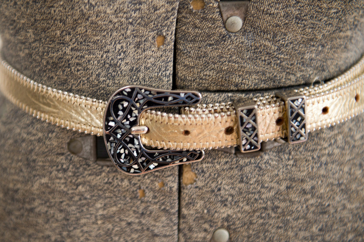 Women's Vintage Opal Inlay Belt - Gold