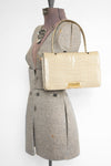 Olive + Gold Crocodile Bag - Vintage Women's Cream Crocodile Handbag
