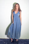 Women's Long Velvet Dress with Tie Straps