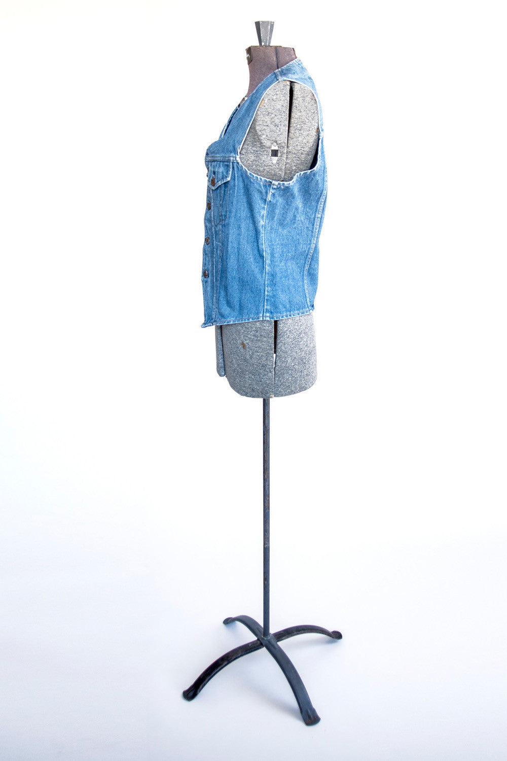 Medium Wash 70s Vest - Women's Vintage Denim Vest