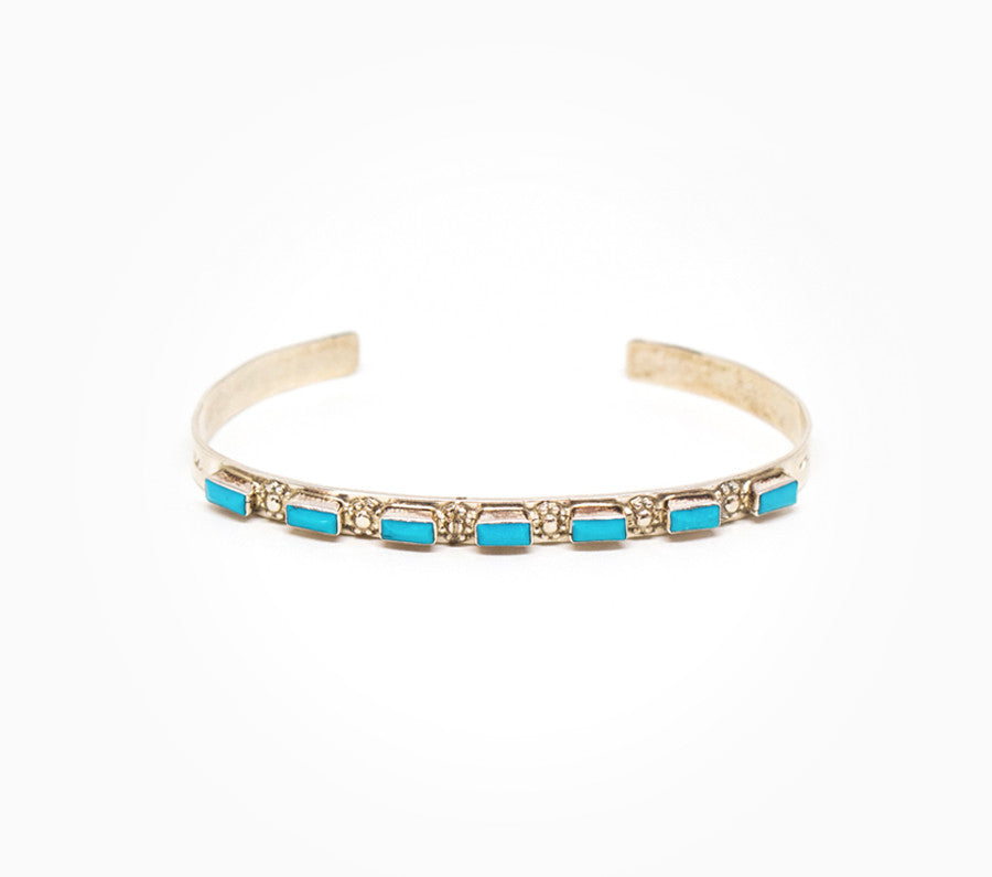 Modern 7 Stone Turquoise Cuff - Women's Turquoise Jewelry