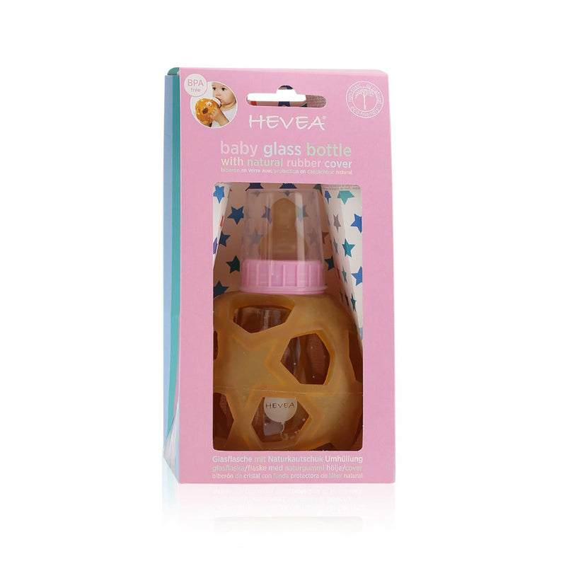 HEVEA Glass Baby Bottle w. Star Ball Cover | Pink