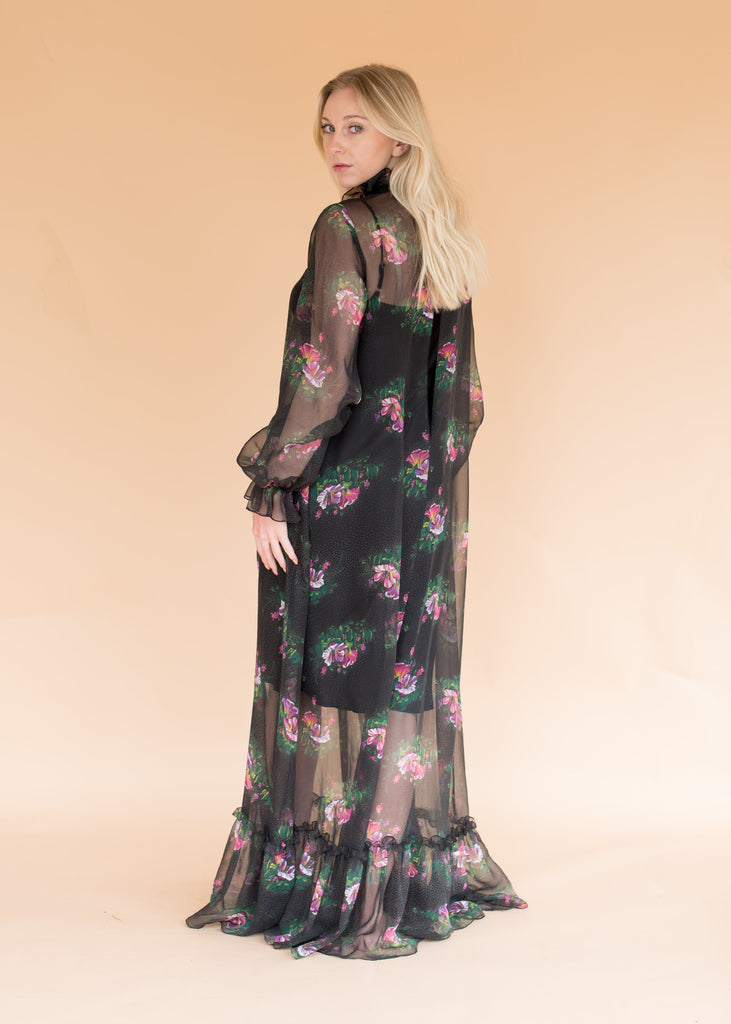 Vintage Chiffon Sheer Floral Gown