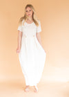 Vintage Women's White Peekaboo Pleats Dress