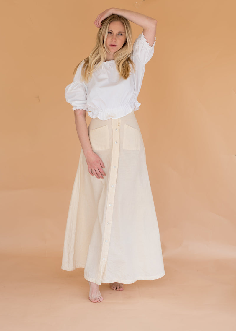 Vintage Linen Button-up Skirt