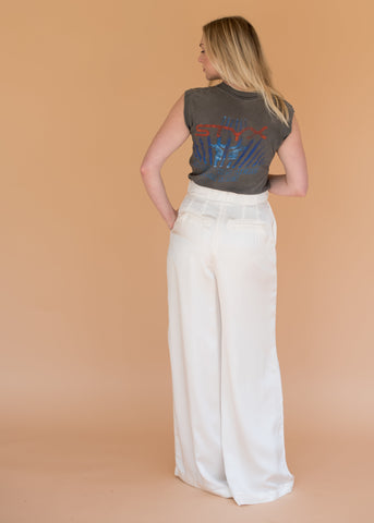 The Palmwood Trouser - Women's White Silk Pant