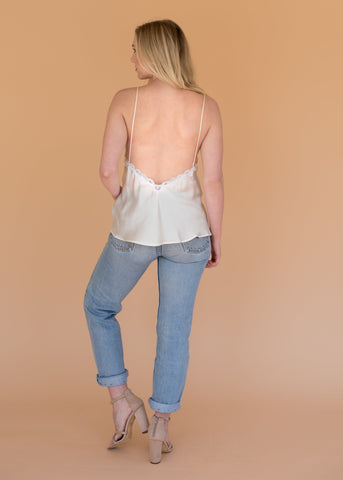 The Monarch Slip Top - Women's Silk and Lace Top