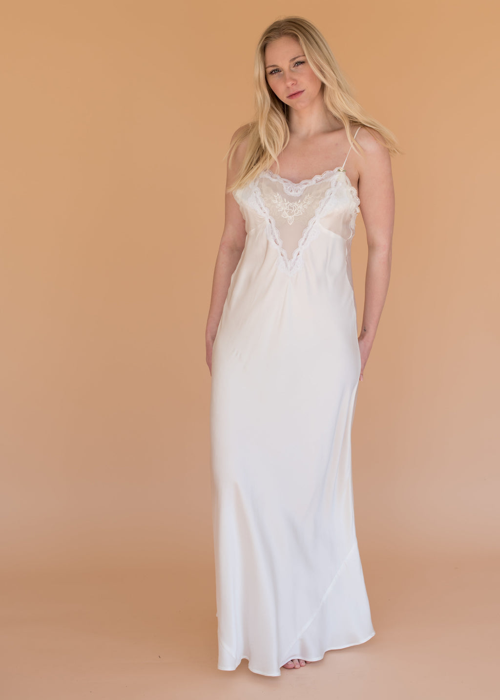 Women's Intimates - The Topaz Slip - White Silk and Lace Dress