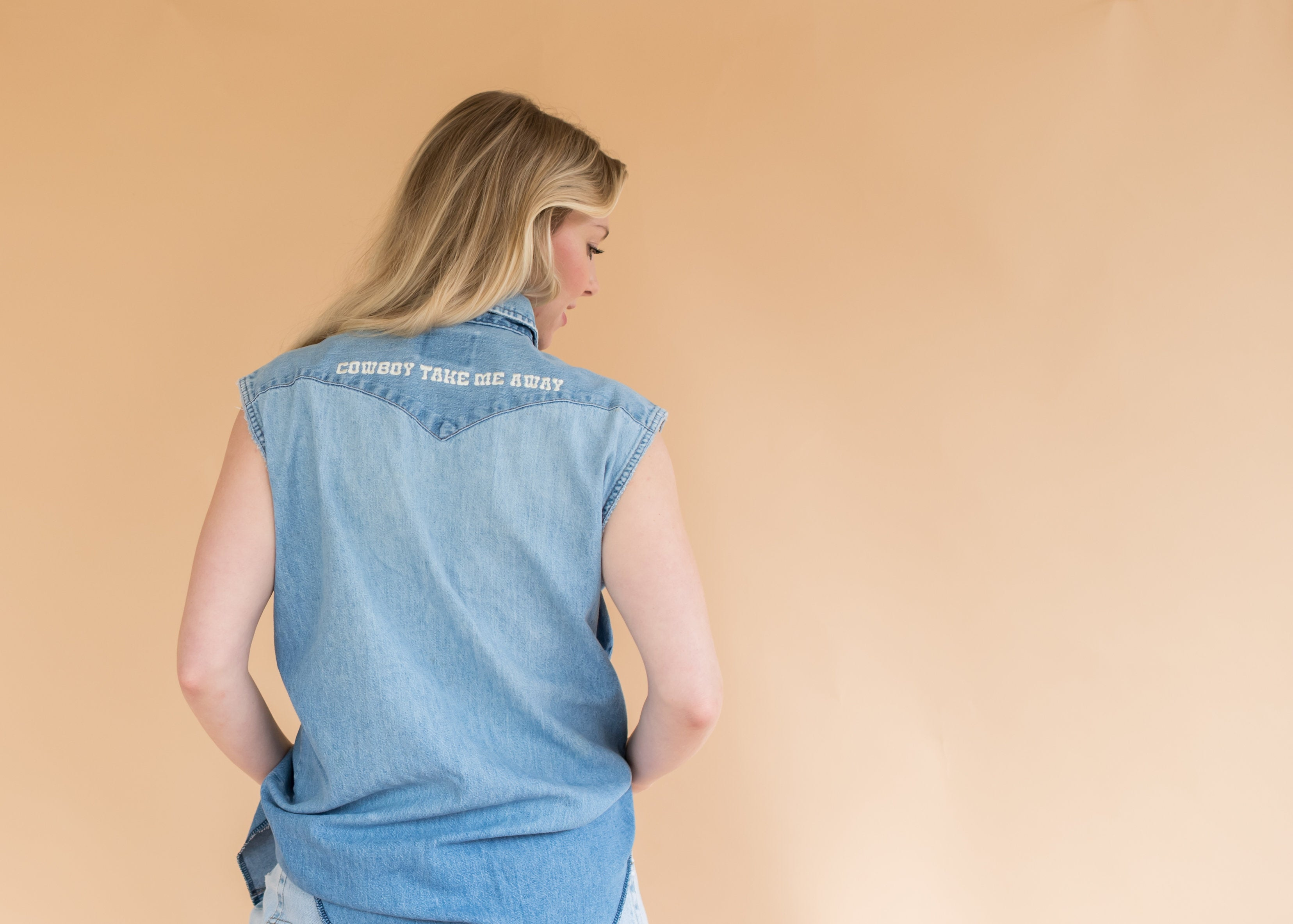 """Cowboy Take Me Away"" Denim Pearl Snap Vest - Women's Vintage Denim Shirt Vest with Pearl Snap Buttons"