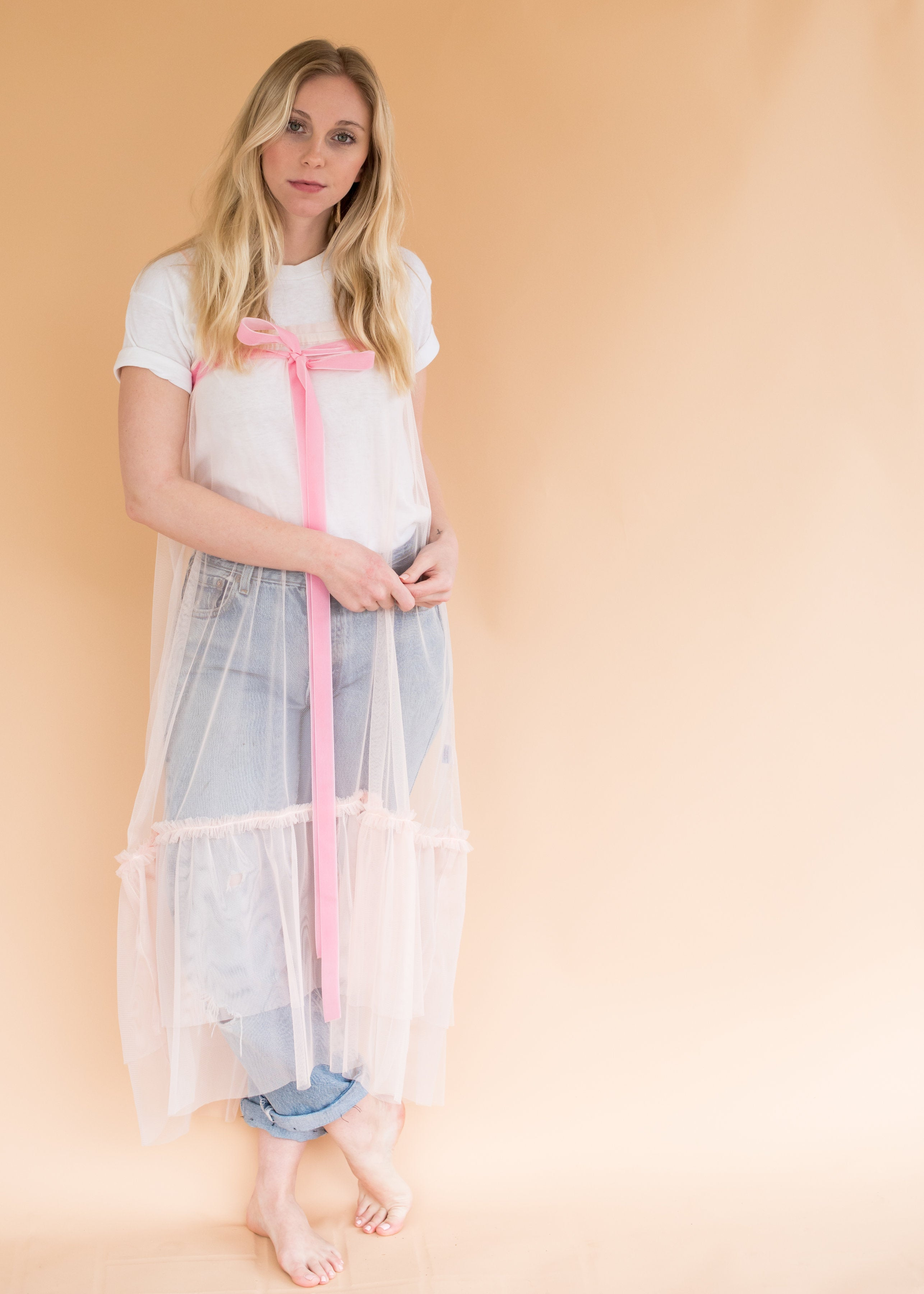 Pink Whimsy Dress - Women's Sheer Tulle Dress with Ribbon and Ruffles