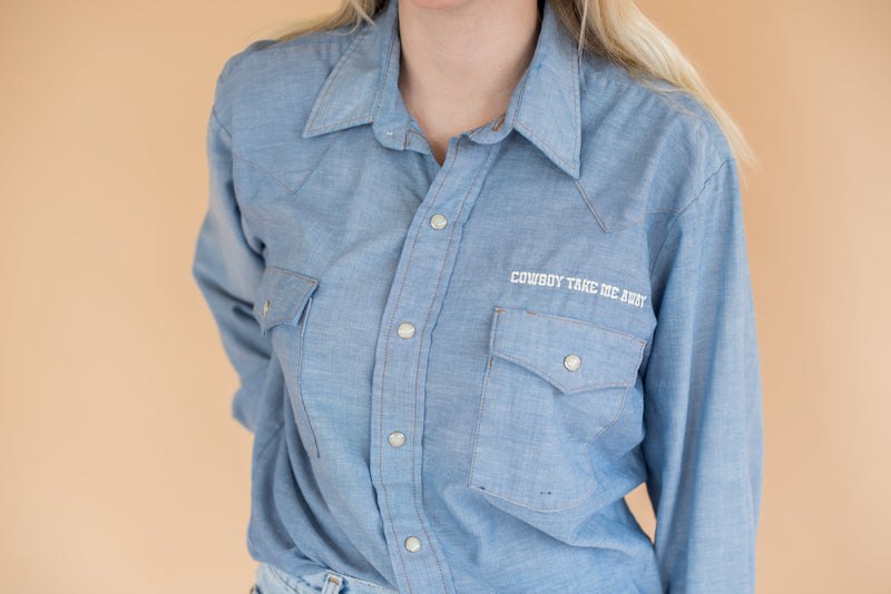 Women's Vintage Shirt with Pearl Snap Buttons