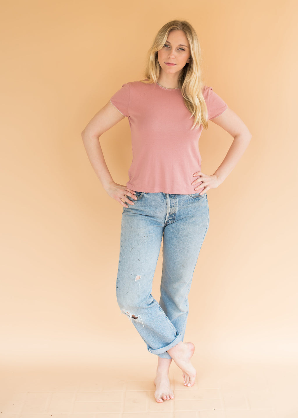 Pointelle Baby Tee - Dusty Rose - Women's Short Sleeve Rose Top