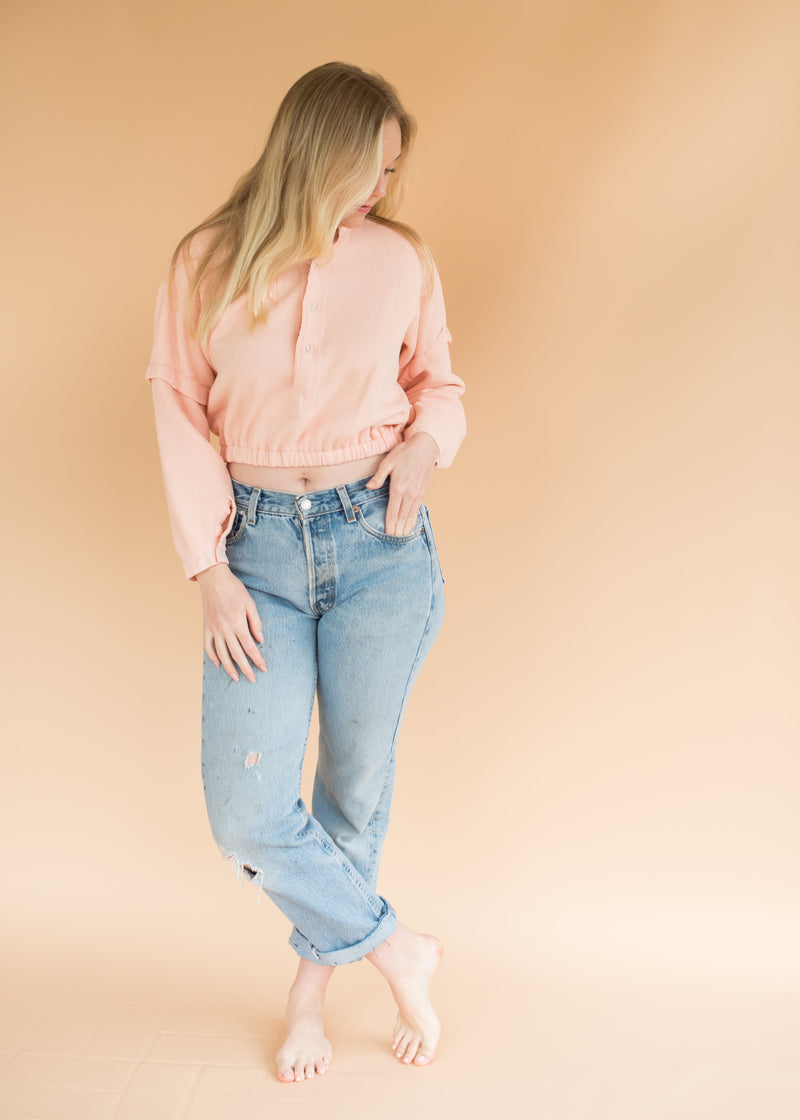 Vintage Peach Cropped Sweatshirt