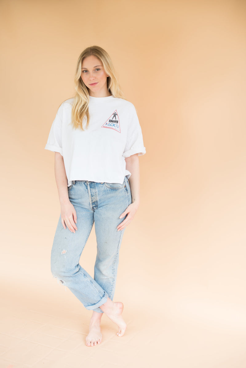 "Vintage Cropped ""KLCX Classic Rock"" Tee"