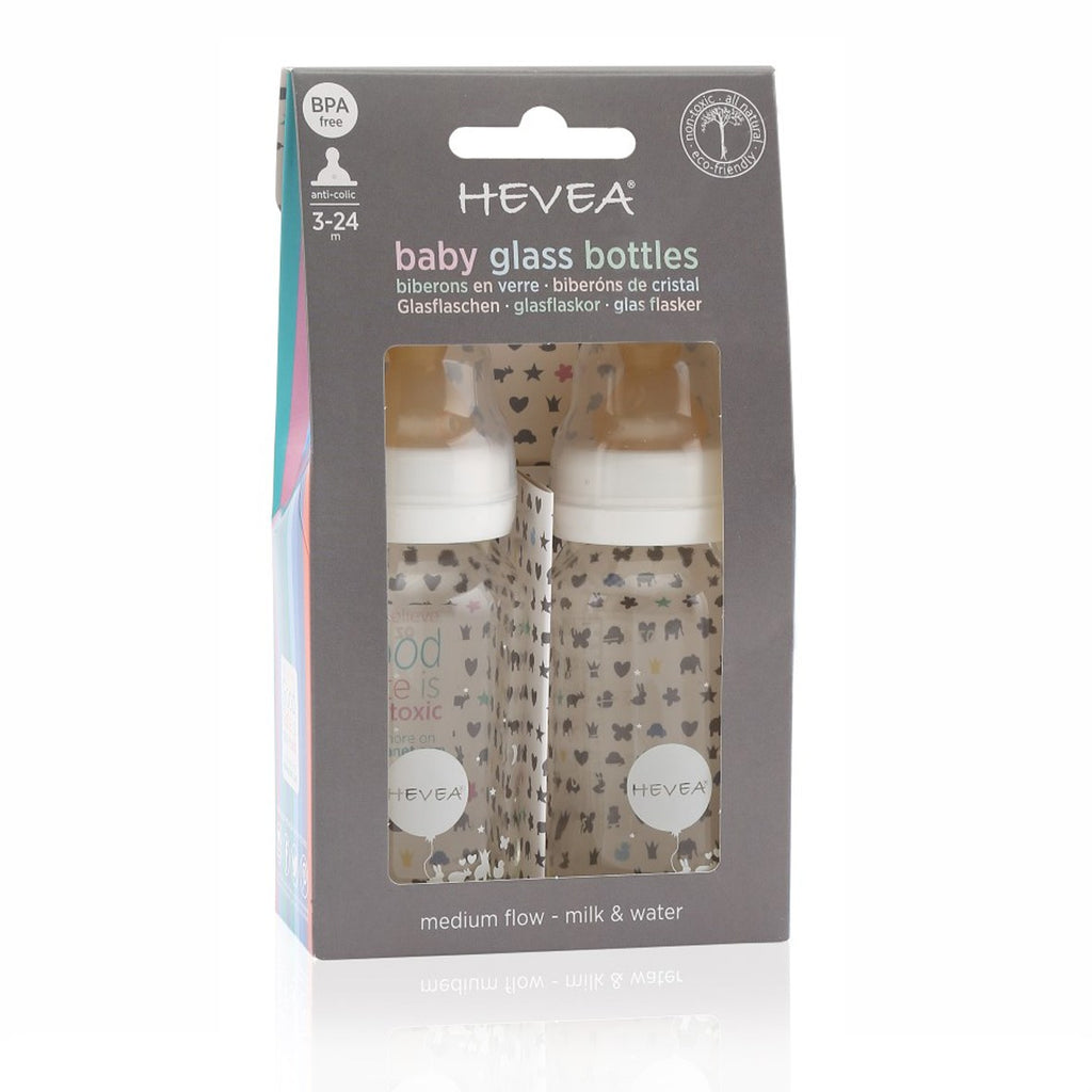 HEVEA Baby Glass Bottles | 2-Pack | White