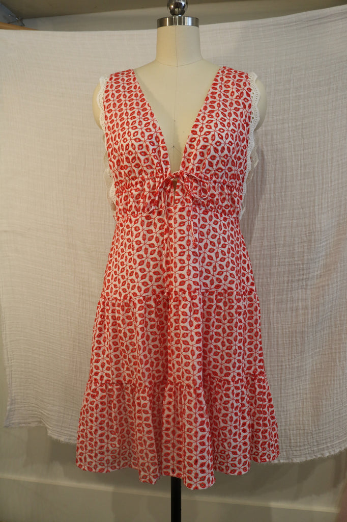 Wayf Red & White Embroidered Dress