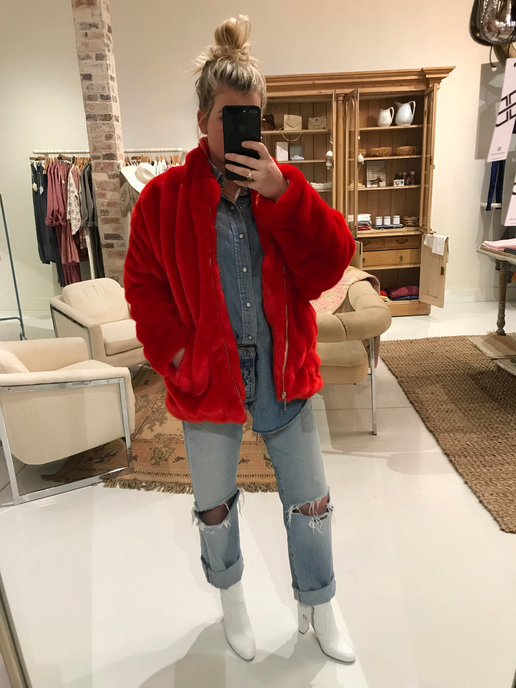 Women's Red Faux Fur Bomber Jacket
