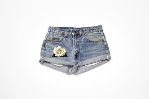 Custom Order - White Rose Vintage Cut Offs