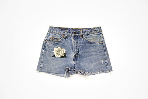 Custom Order - White Rose Vintage Cut Offs - Women's Levis Jean Shorts