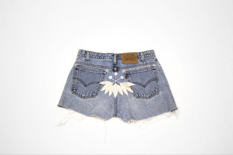 Custom Order - Feather & Logo Vintage Cut Offs