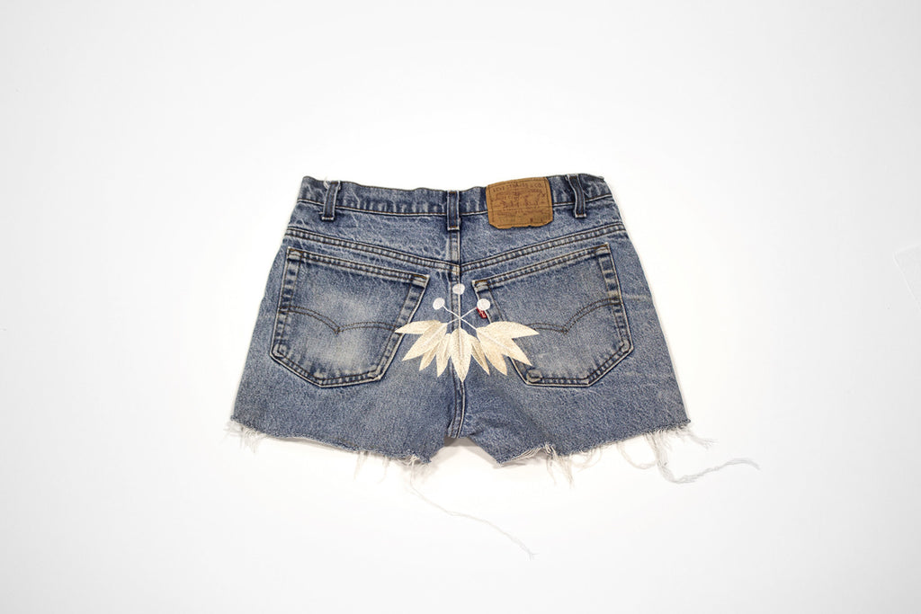 Vintage Women's Denim Levi Cut Offs with Embroidery