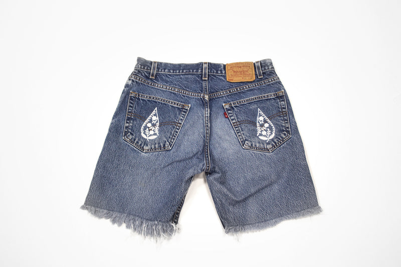 Paisley Drop Cut Offs - Vintage Women's Denim Levi Shorts with Embroidery
