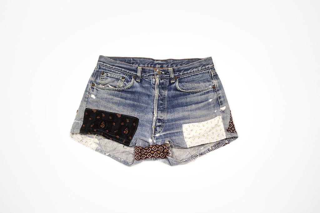 Women's Vintage Denim Cut Offs with Patches