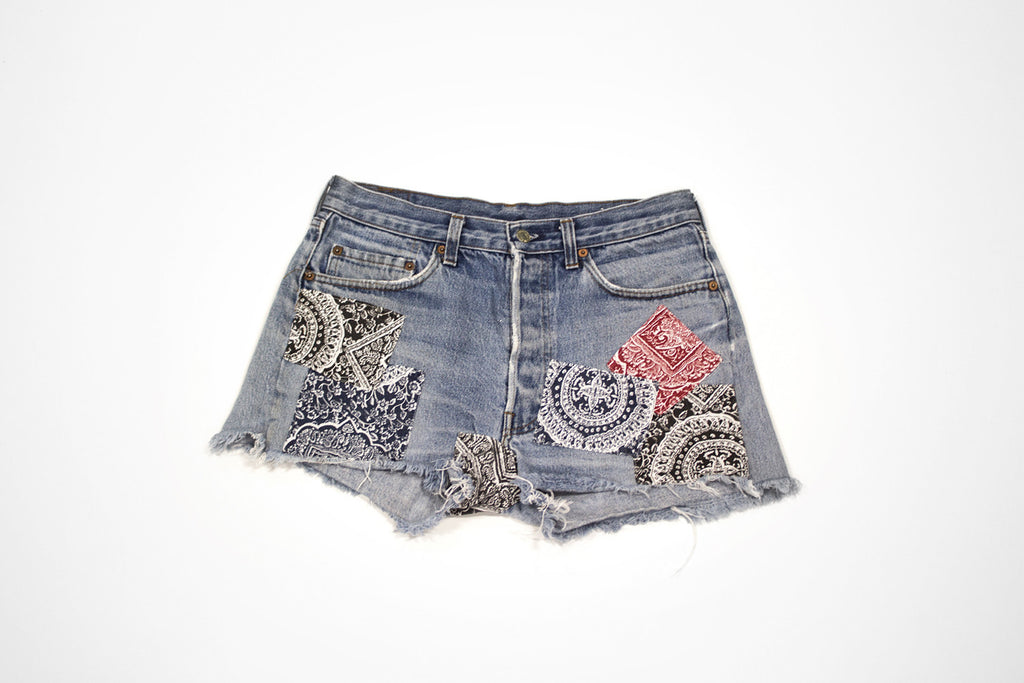 Patchwork Bandana Cut Offs - Women's Vintage Denim Jean Shorts