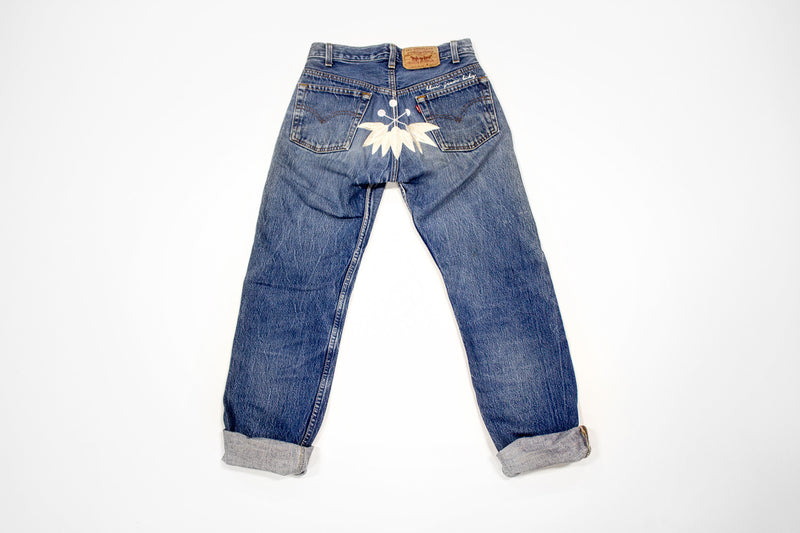 Women's Vintage Denim Levis Jeans with Embroidery